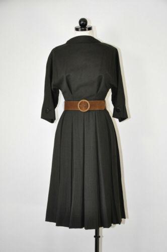 Vintage 1950s Teal Traina Walnut Tartan Wool Pleat