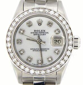 Rolex-Datejust-Ladies-Stainless-Steel-Watch-Oyster-Quickset-White-MOP-Diamond
