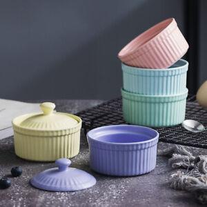 Ceramic Pudding Bowl w/Lid Dessert Bowls Small Soup Bowl for Restaurant Home New