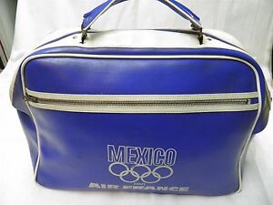 TRES-RARE-ET-AUTHENTIQUE-SAC-DE-SPORT-VINTAGE-J-O-DE-MEXICO-1968-AIR-FRANCE-NR