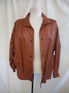 Ladies-Leather-Jacket-UK-10-brown-bomber-style-lined-very-good-condition-0072