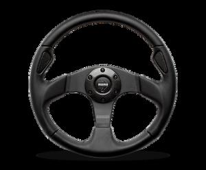 MOMO-Steering-Wheel-JET-Black-Leather-Carbon-Inserts-Black-Spokes-350mm-New