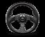 MOMO-Steering-Wheel-JET-Black-Leather-Carbon-Inserts-Black-Spokes-350mm-New miniature 1