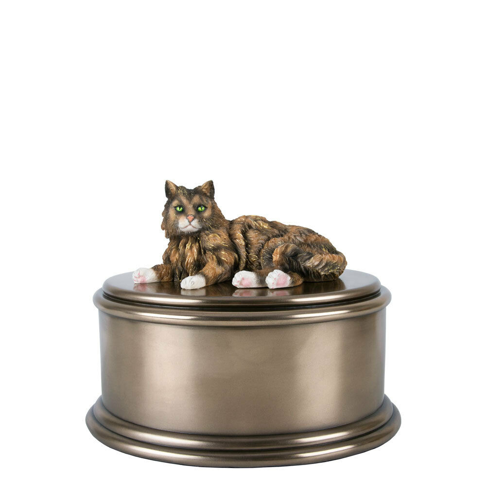 Perfect Memorials Hand Painted Tabby Cat Figurine Cremation Urn