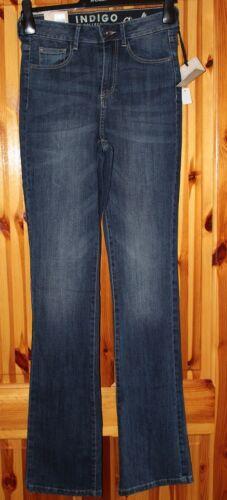 M&S Indigo donna slim flare al di sotto in Vita Jeans Indaco Scuro Taglia 10 Long