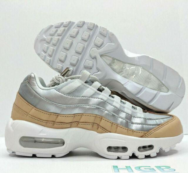 dd5763c145 Nike Air Max 95 SE PRM Premium Womens Platinum Silver Tan Running AH8697-002  NIB