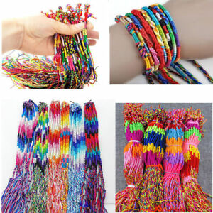 10x-Handmade-Colorful-Thread-Woven-Friendship-Cords-Hippie-Anklet-Braid-Bracelet