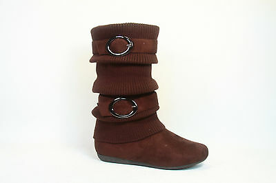 Girl's Kid's Cute Sweater Top  Low Flat  Heel Zipper Boot Shoes NEW Size 9 - 4