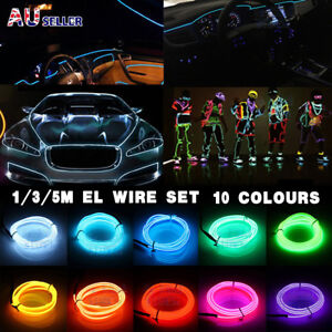 5M/3M Battery Operated Luminescent Neon LED Lights Glow EL Wire Party Strip Rope