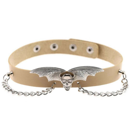 Punk Gothic Women Bat Wing Leather O-Ring Choker Chain Pendant Collar Necklace