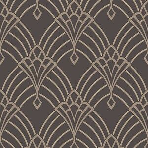 Image Is Loading Astoria Art Deco Wallpaper Charcoal Grey Silver Rasch