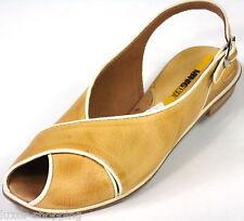 Neu MANAS DESIGN Leder Camel Damen Sandalen Gr.37 Sandalette Schuhe
