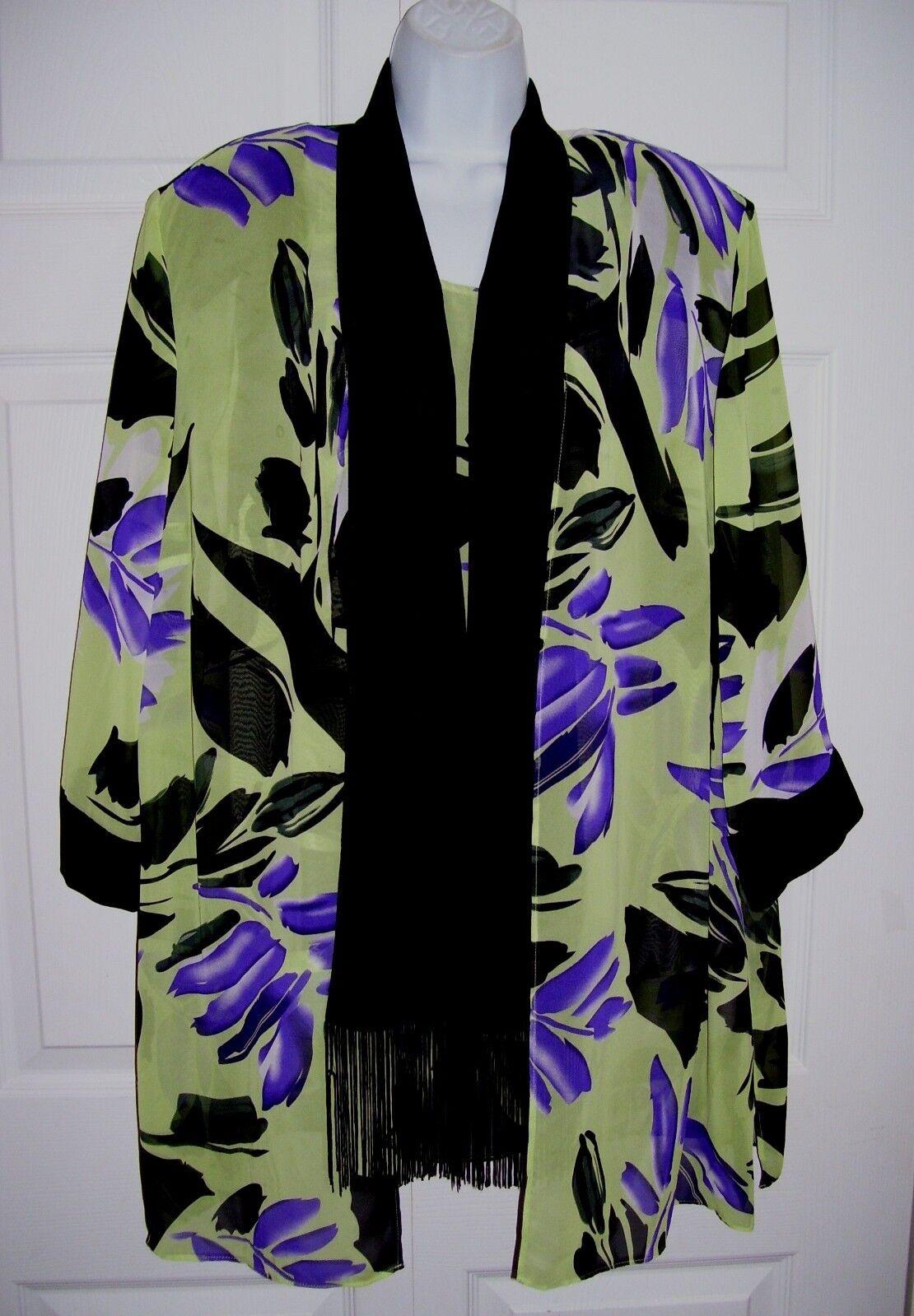 Dana Kay 2X damen's  22W Jacket & Camisole Grün lila schwarz Flower RV