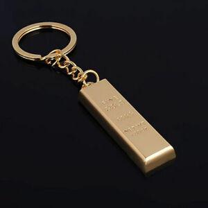 Porte-cles-Lingot-d-039-Or-Fine-Gold-Trousseau-Metal-Dore-Cadeaux-Taille-12-x-45-mm