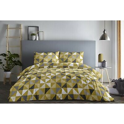 Fusion Geo Geometric Easy Care Duvet Cover Bedding Set Grey Or Ochre