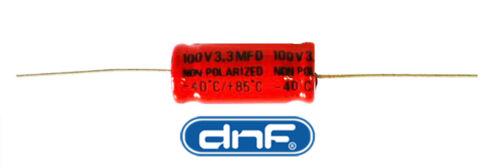 FREE SAME DAY SHIPPING 3.3 MFD Axial Electrolytic Non-Polar Capacitor 100 VOLT