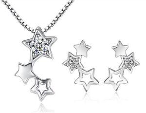 Damen-Stern-Star-Schmuckset-Halskette-Ohrring-Ohrstecker-aus-925-Sterlingsilber