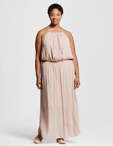 cf88d59e4d0 NEW Women s Plus Size Mossimo Crochet Trim Maxi Dress Peach Eggshell ...
