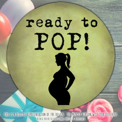Personalised Ready to Pop Baby Shower stickers round labels party cone sheet