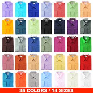 New-Berlioni-Italy-Men-039-s-Regular-Convertible-Cuff-Solid-Colors-Dress-Shirts