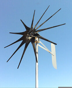 """60.5/""""D 48 DC 2 wire PMA Wind Turbine Generator 1150 Watt 6 Black blades"""
