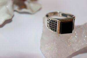 Verlegen Silberring Männerring Siegelring Ring Sterlingsilber 925 Handarbeit Schwarz Onyx Befangen Selbstbewusst Gehemmt Unsicher