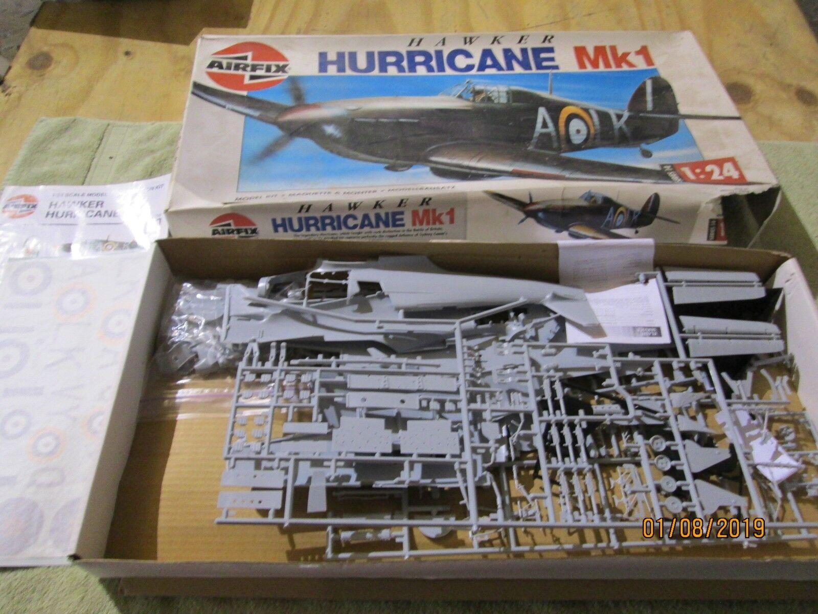 Airfix Hawker Hurricane Mk1 WWII Fighter plan modelllllerler Kit 1 24