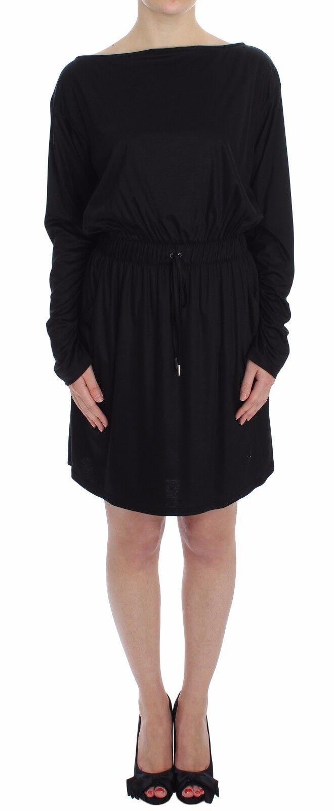 NWT  VERSACE JEANS COUTURE VJC schwarz Modal Silk Shift Knee Dress IT40   S