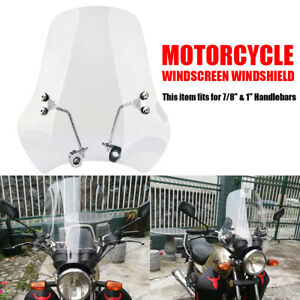 Universal 7 8 1 Motorcycle Clear Windshield Wind Screen For Honda Yamaha Bmw Ebay