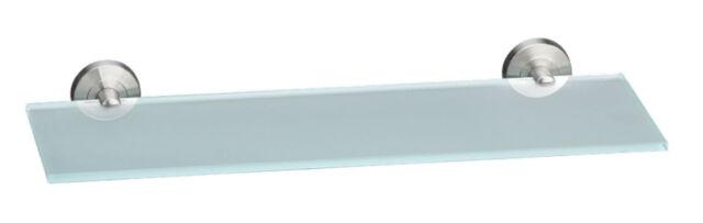 Easy Home Glasablage aus Hochwertigem Edelstahl und Satiniertem Glas 50x14 cm