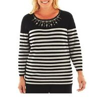 Alfred Dunner Womens Sweater Top On The Red Carpet Striped Beaded Size S
