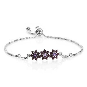 Women's Swarovski Bolo Slider Bracelet Amethyst Flower Crystal Adjustable Steel