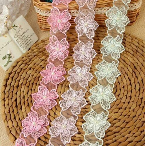 24pcs Blumen Organza Blumen-Perlen Handgemachte Spitze-Trim Hochzeitskleid