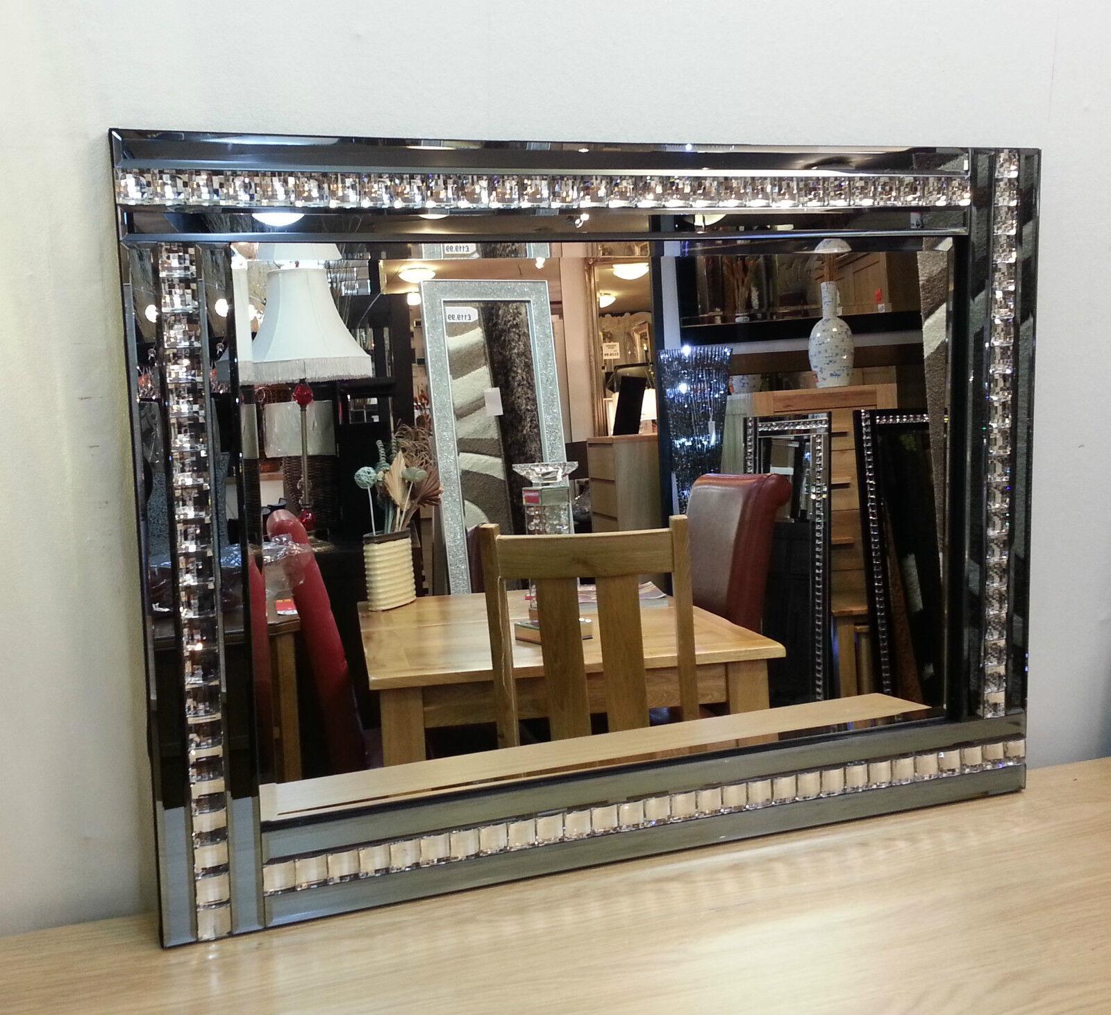 NEW Modern Kunst Deco Acrylic Crystal Glas Design Bevelled Mirror 120x80cm Smoked