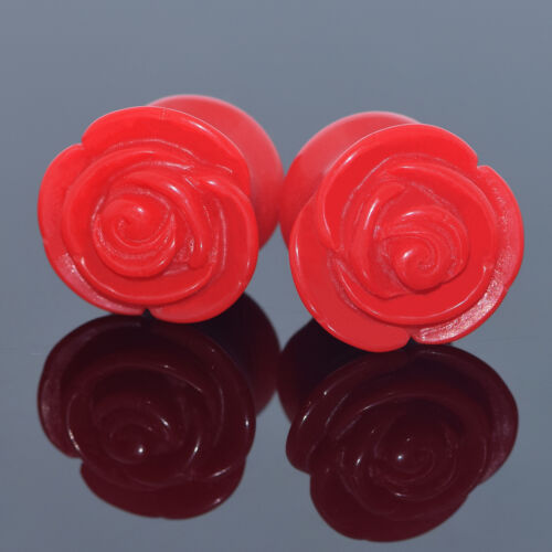 Pair Acrylic Ear Gauges Carved Rose Saddle Tunnel Solid Ear Plug Ear Expanders