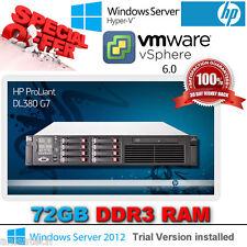 HP Proliant DL380 G7 2.66Ghz QuadCore E5640 Xeon 72GB RAM 5x 146Gb SAS 10K P410i