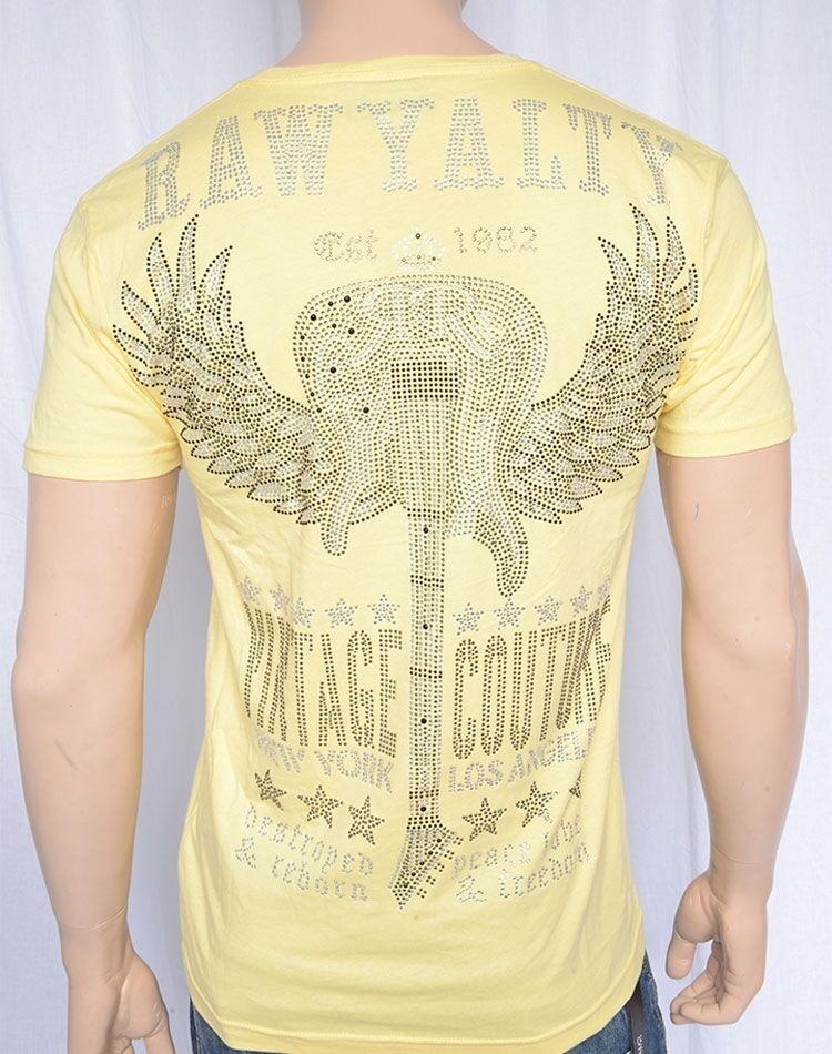 Last One   Rawyalty Guitar Wings Shirt in Yellow  size MEDIUM
