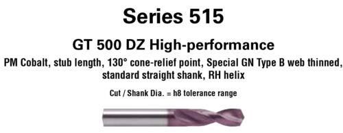 ".3125/"" Guhring Powdered Metal GT500 Firex Stub Drill #515 130°Point 5//16/"""