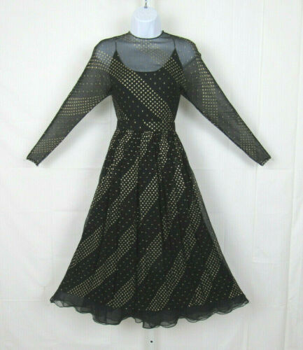 VTG 1960s 70s RUBEN PANIS BLACK CHIFFON DRESS & SL