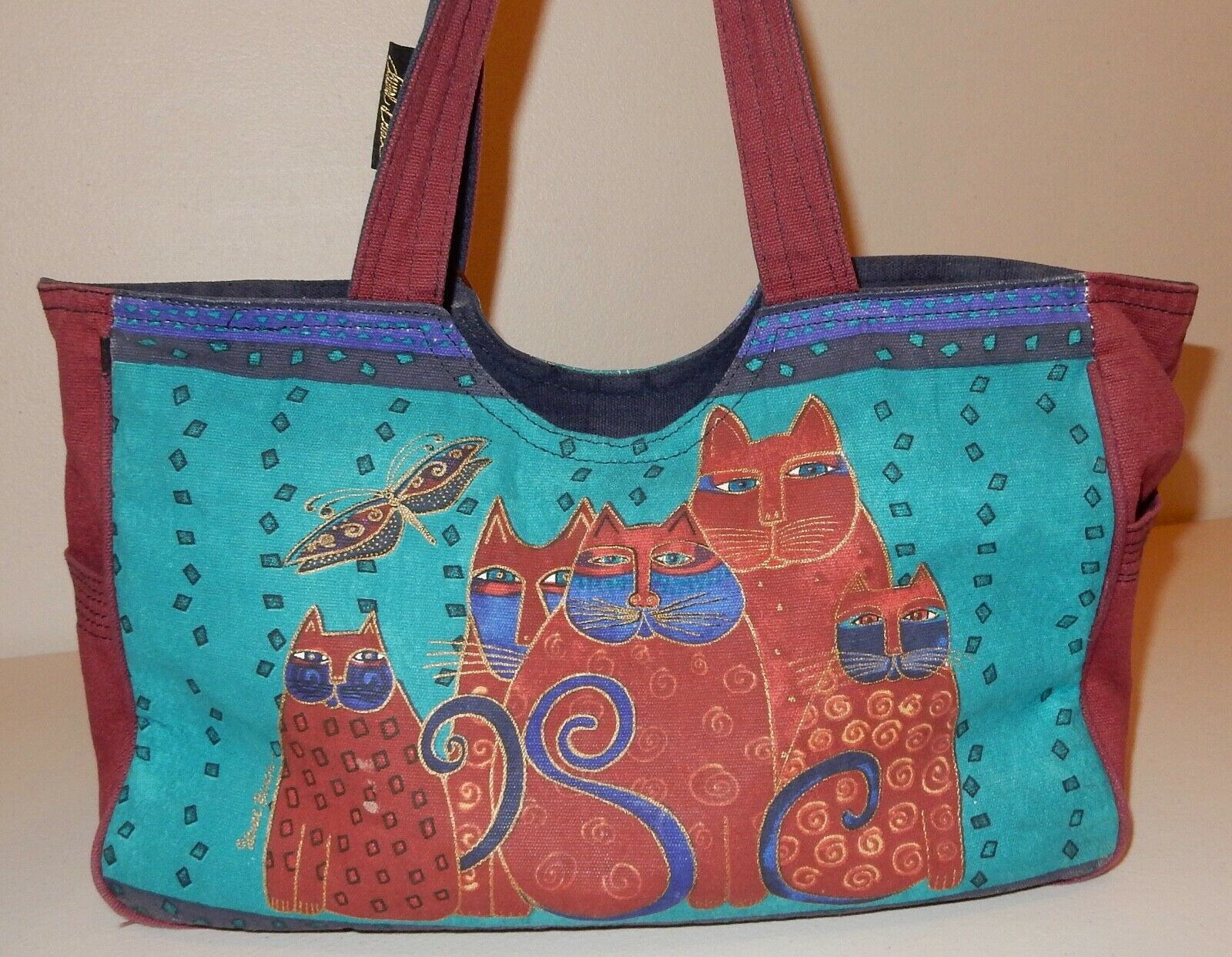 Laurel Burch Cat Tote Bag & Pouch Used - image 6