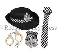 WPC POLICE WOMAN FANCY DRESS LADIES POLICEWOMAN COP HANDCUFFS BATON HAT TIE NEW