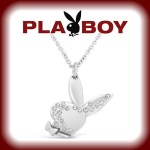 Playboy-Necklace-Swarovski-Crystal-Bunny-Pendant-w-Chain-Silver-Platinum-Plated