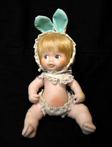 """""""Delton"""" Porcelain 6 Inches Rabbit Doll Easter Bunny Articulated"""