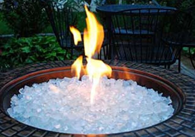 Fire Pit Glass Rocks For Outdoor Propane Gas Fireplace White Ice Crystals  10 lbs - 10 Lbs White Ice Crystals Fire Pit Glass Rocks For Fireplace Outdoor