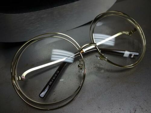 New OVERSIZE VINTAGE Style Clear Lens EYE GLASSES Large Round Gold Fashion Frame