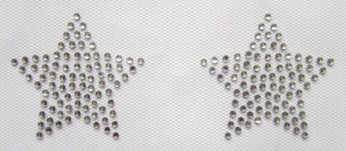 SMALL STARS X2 Iron On Hotfix Rhinestone Diamante Transfer Motif DANCE WEDDING