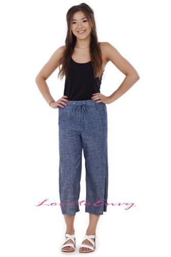 3//4 donna Lino Pantaloni Corti Estate Casual inserti elastici cotone Crop Pantaloni 8-22