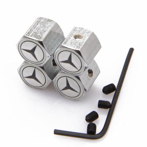 4x Silver Metal Valve Caps Car Tire Stem Air Caps Anti-Theft For Mercedes-Benz