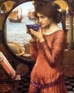 Pre-Raphaelite Arts & Crafts Waterhouse Print Medieval Maiden DESTINY Fleet Ship