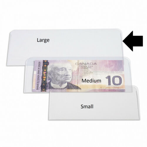 Clear Plastic Holder for Banknote 10 Large Currency Holder 1870-1925 Notes
